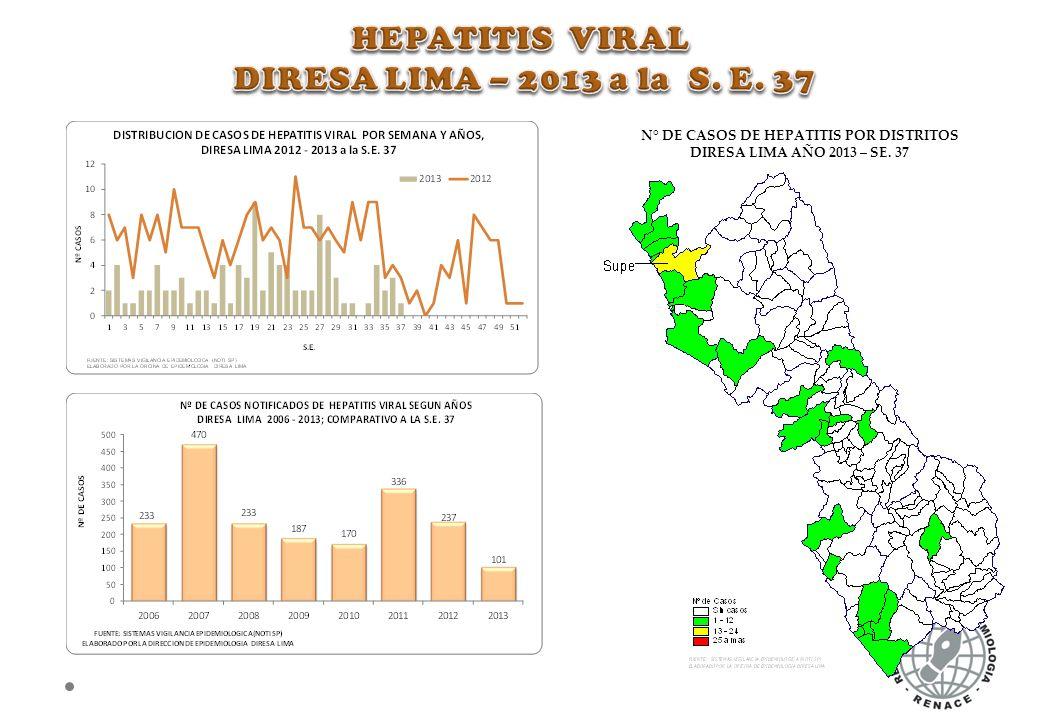 N° DE CASOS DE HEPATITIS POR DISTRITOS DIRESA LIMA AÑO 2013 – SE. 37