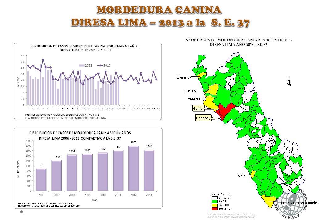 N° DE CASOS DE MORDEDURA CANINA POR DISTRITOS DIRESA LIMA AÑO 2013 – SE. 37