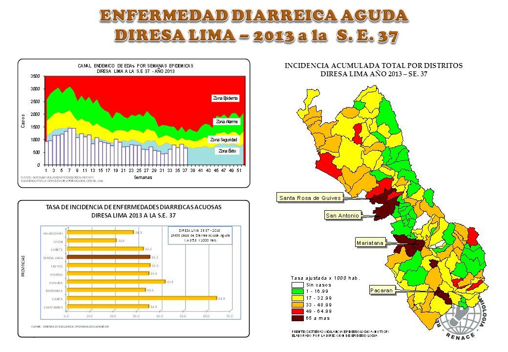 INCIDENCIA ACUMULADA TOTAL POR DISTRITOS DIRESA LIMA AÑO 2013 – SE. 37