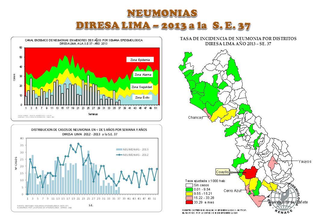TASA DE INCIDENCIA DE NEUMONIA POR DISTRITOS DIRESA LIMA AÑO 2013 – SE. 37