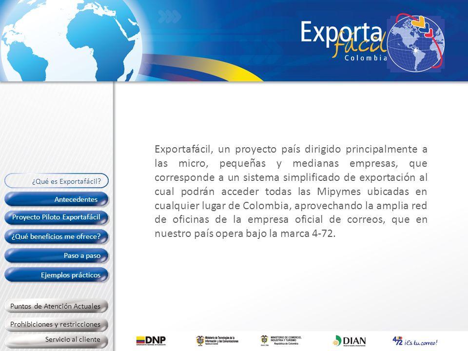 ¿Qué beneficios me ofrece? Antecedentes Paso a paso Proyecto Piloto Exportafácil Ejemplos prácticos Exportafácil, un proyecto país dirigido principalm