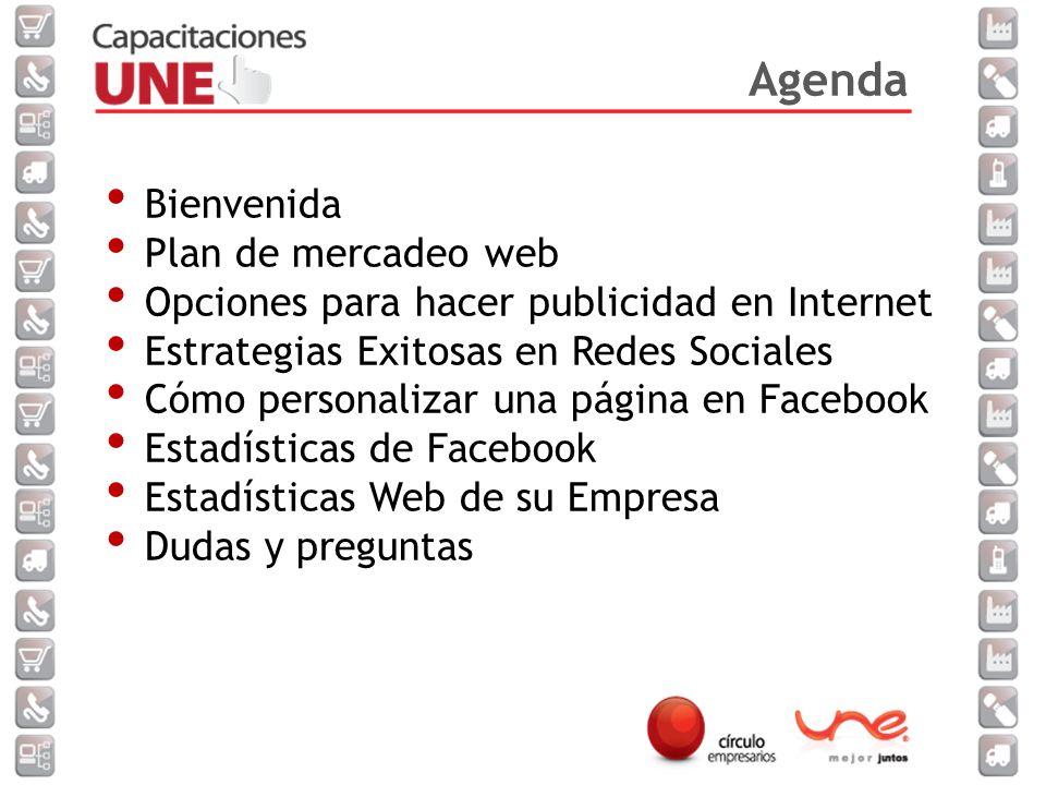 Bienvenida Plan de mercadeo web Opciones para hacer publicidad en Internet Estrategias Exitosas en Redes Sociales Cómo personalizar una página en Facebook Estadísticas de Facebook Estadísticas Web de su Empresa Dudas y preguntas Agenda