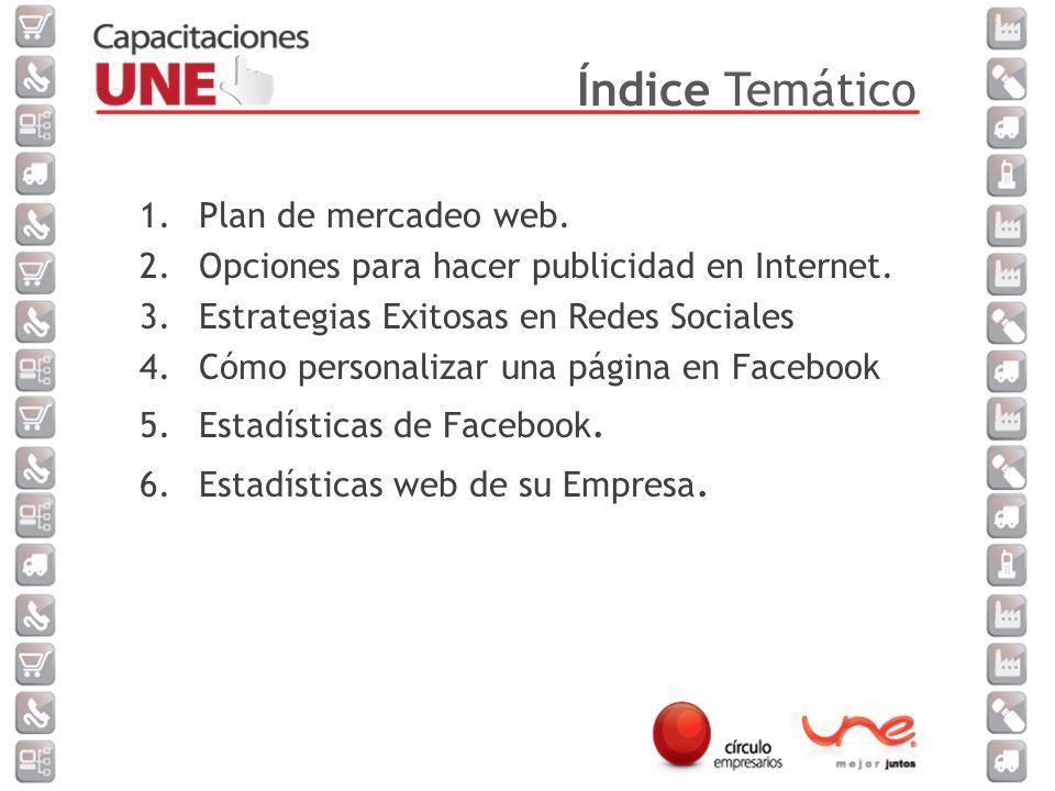 1.Plan de mercadeo web.2.Opciones para hacer publicidad en Internet.