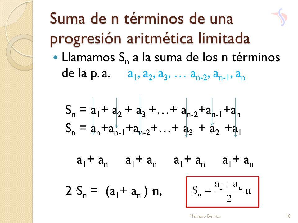 Suma de n términos de una progresión aritmética limitada Llamamos S n a la suma de los n términos de la p. a. a 1, a 2, a 3, … a n-2, a n-1, a n S n =
