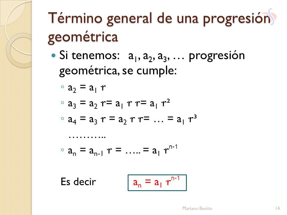 Término general de una progresión geométrica Si tenemos: a 1, a 2, a 3, … progresión geométrica, se cumple: a 2 = a 1 ·r a 3 = a 2 ·r= a 1 ·r·r= a 1 ·
