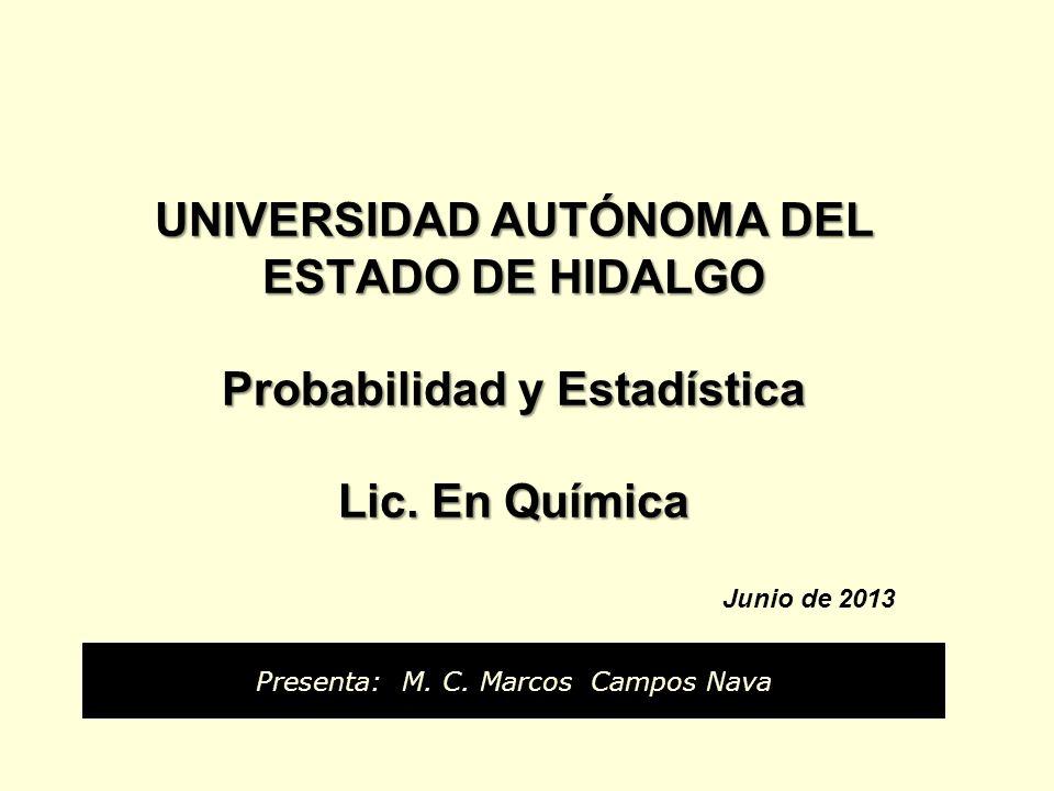 UNIVERSIDAD AUTÓNOMA DEL ESTADO DE HIDALGO Probabilidad y Estadística Lic. En Química UNIVERSIDAD AUTÓNOMA DEL ESTADO DE HIDALGO Probabilidad y Estadí
