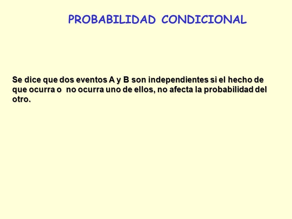 PROBABILIDAD CONDICIONAL Se dice que dos eventos A y B son independientes si el hecho de que ocurra o no ocurra uno de ellos, no afecta la probabilida