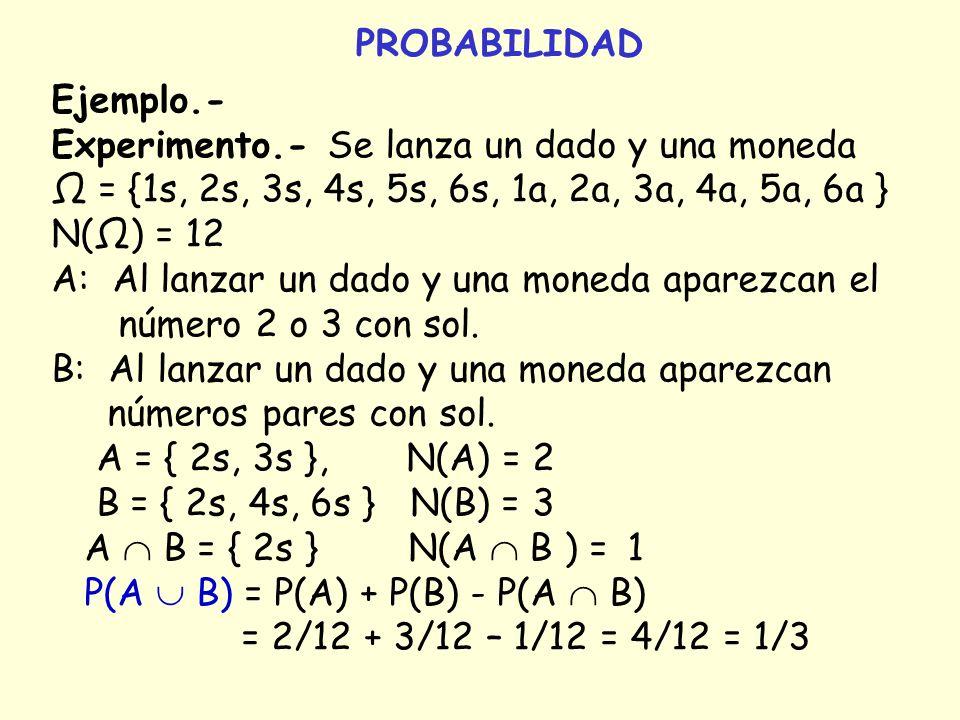 PROBABILIDAD Ejemplo.- Experimento.- Se lanza un dado y una moneda = {1s, 2s, 3s, 4s, 5s, 6s, 1a, 2a, 3a, 4a, 5a, 6a } N() = 12 A: Al lanzar un dado y