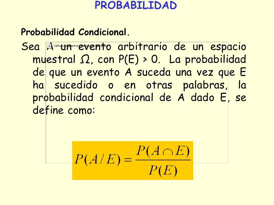 PROBABILIDAD Probabilidad Condicional. Sea A un evento arbitrario de un espacio muestral, con P(E) > 0. La probabilidad de que un evento A suceda una