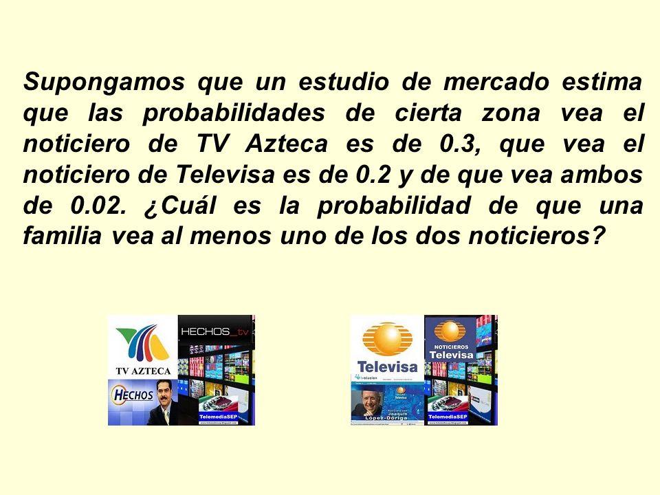 Supongamos que un estudio de mercado estima que las probabilidades de cierta zona vea el noticiero de TV Azteca es de 0.3, que vea el noticiero de Tel