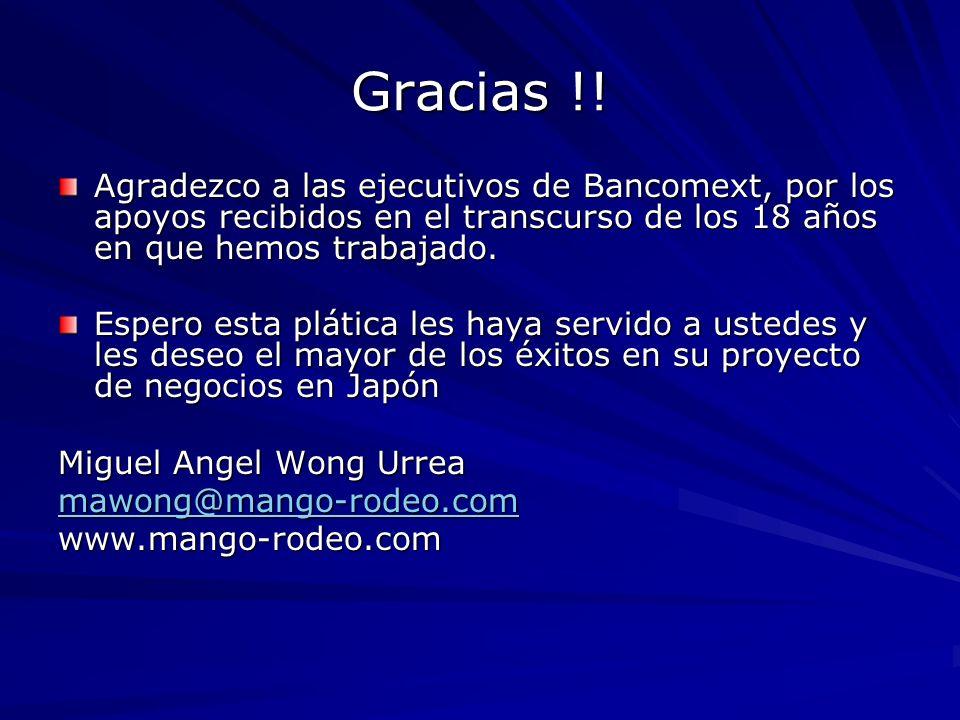 Gracias !! Agradezco a las ejecutivos de Bancomext, por los apoyos recibidos en el transcurso de los 18 años en que hemos trabajado. Espero esta pláti