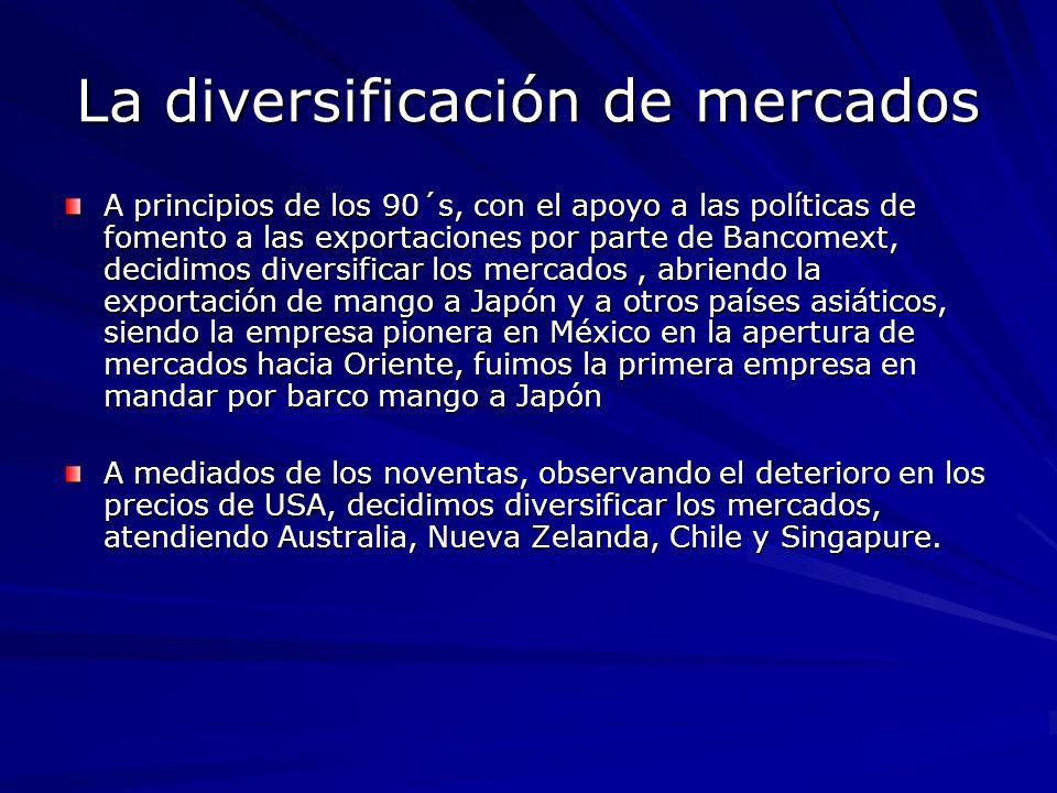 La diversificación de mercados A principios de los 90´s, con el apoyo a las políticas de fomento a las exportaciones por parte de Bancomext, decidimos