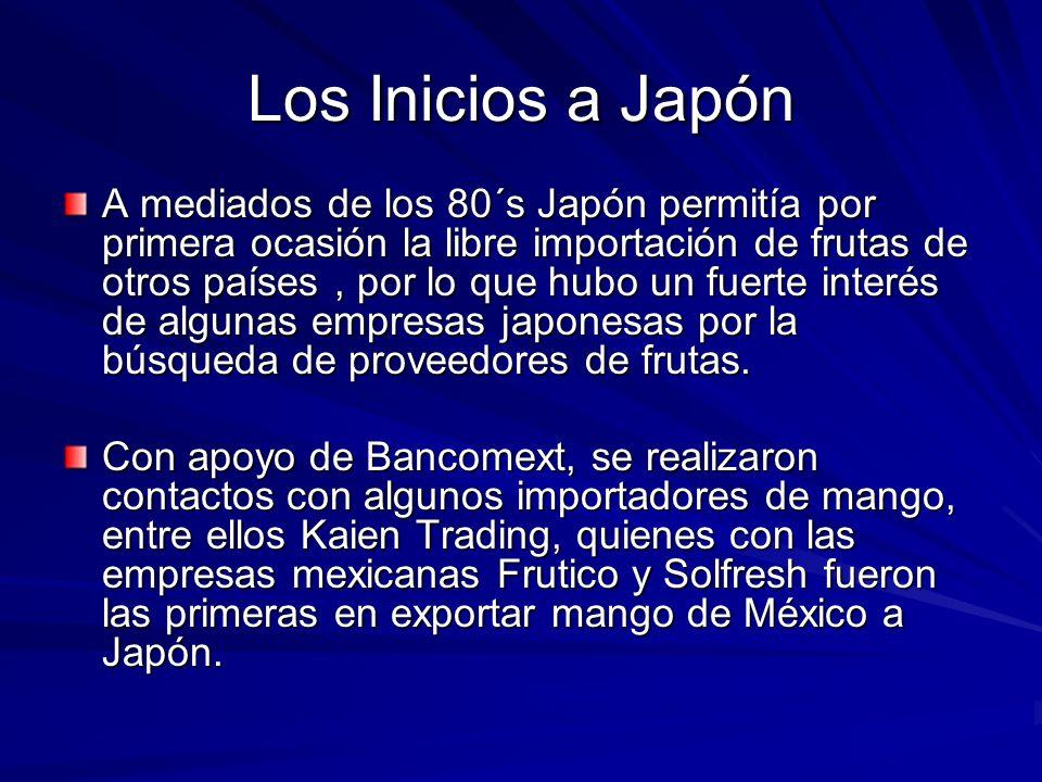 Los Inicios a Japón A mediados de los 80´s Japón permitía por primera ocasión la libre importación de frutas de otros países, por lo que hubo un fuert