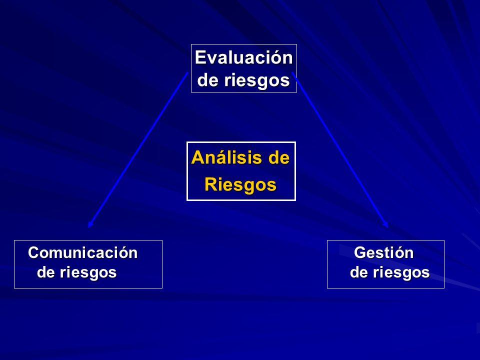 Evaluación de riesgos Análisis de Riesgos Comunicación de riesgos Comunicación de riesgos Gestión de riesgos Gestión de riesgos