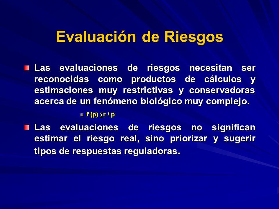 Evaluación de Riesgos Las evaluaciones de riesgos necesitan ser reconocidas como productos de cálculos y estimaciones muy restrictivas y conservadoras