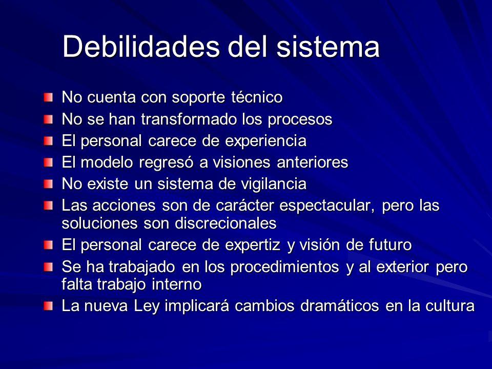 Debilidades del sistema No cuenta con soporte técnico No se han transformado los procesos El personal carece de experiencia El modelo regresó a vision