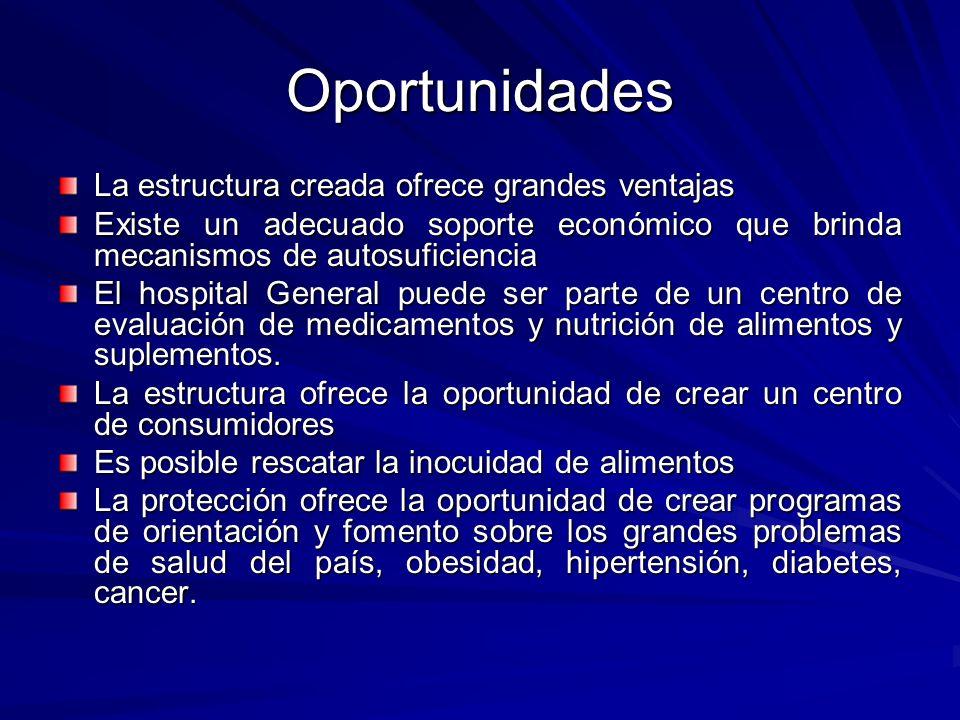 Oportunidades La estructura creada ofrece grandes ventajas Existe un adecuado soporte económico que brinda mecanismos de autosuficiencia El hospital G