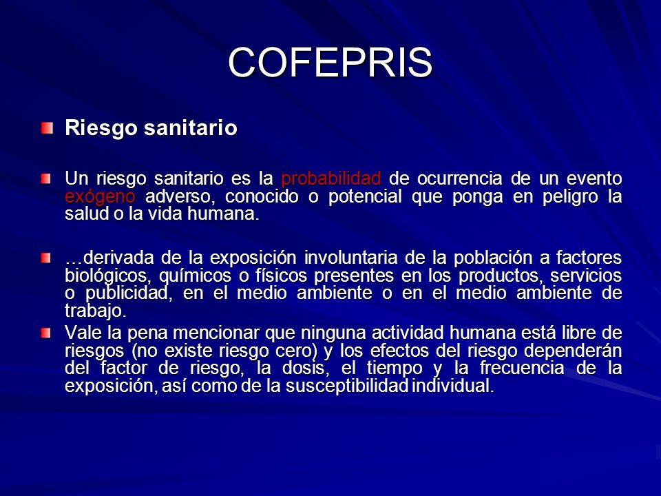COFEPRIS Riesgo sanitario Un riesgo sanitario es la probabilidad de ocurrencia de un evento exógeno adverso, conocido o potencial que ponga en peligro