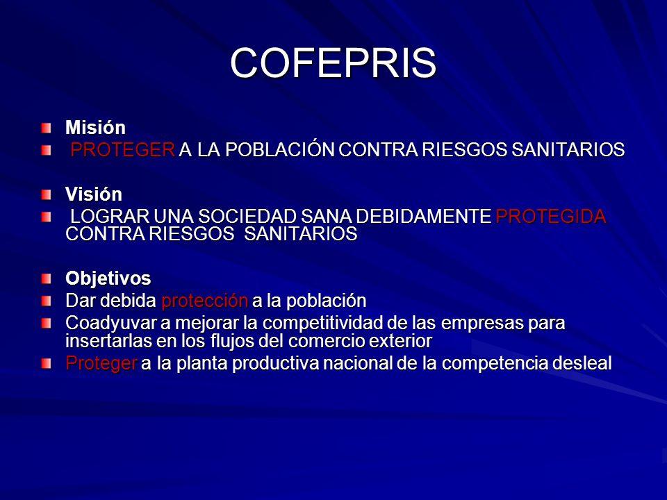 COFEPRIS Misión PROTEGER A LA POBLACIÓN CONTRA RIESGOS SANITARIOS PROTEGER A LA POBLACIÓN CONTRA RIESGOS SANITARIOSVisión LOGRAR UNA SOCIEDAD SANA DEB