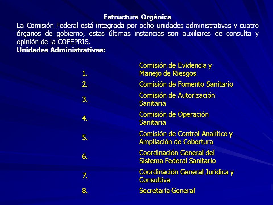 Estructura Orgánica La Comisión Federal está integrada por ocho unidades administrativas y cuatro órganos de gobierno, estas últimas instancias son au