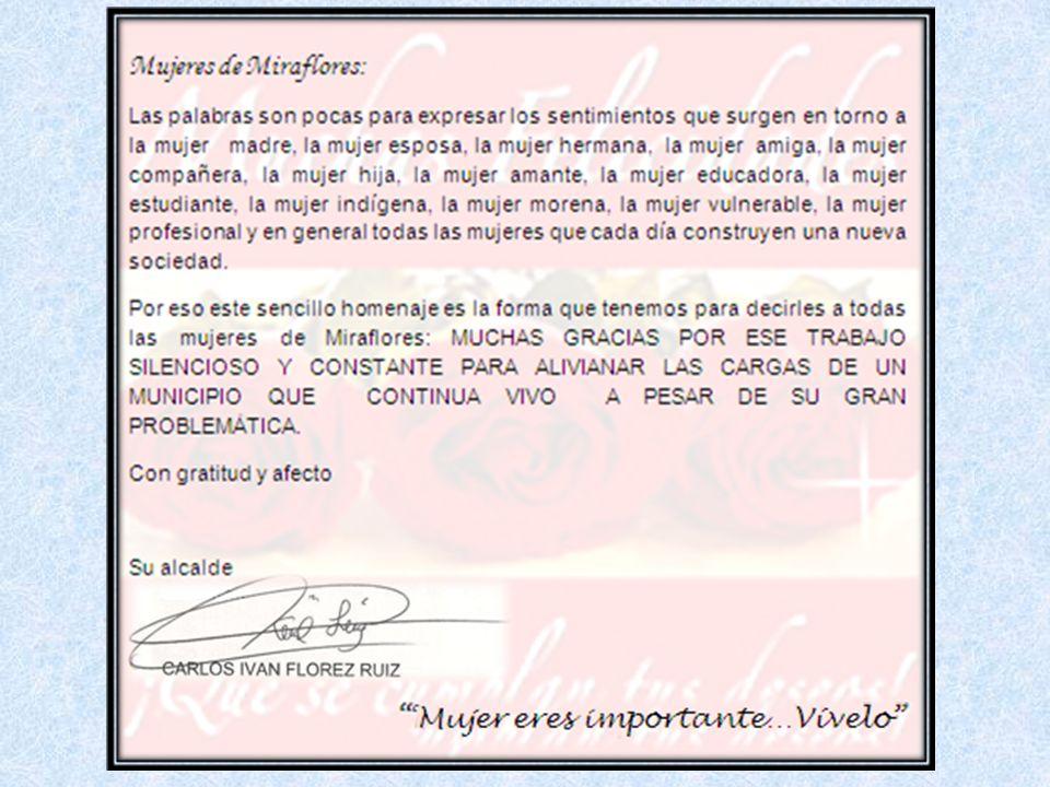 No hay ensayo general Cada día es debut y despedida. Trabajemos unidos por la mujer Miraflorense Carlos Iván Flórez Ruiz Alcalde
