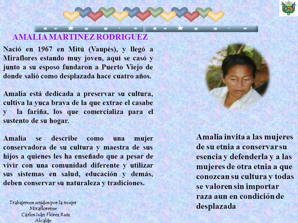 Nació en 1967 en Mitú (Vaupés), y llegó a Miraflores estando muy joven, aquí se casó y junto a su esposo fundaron a Puerto Viejo de donde salió como desplazada hace cuatro años.