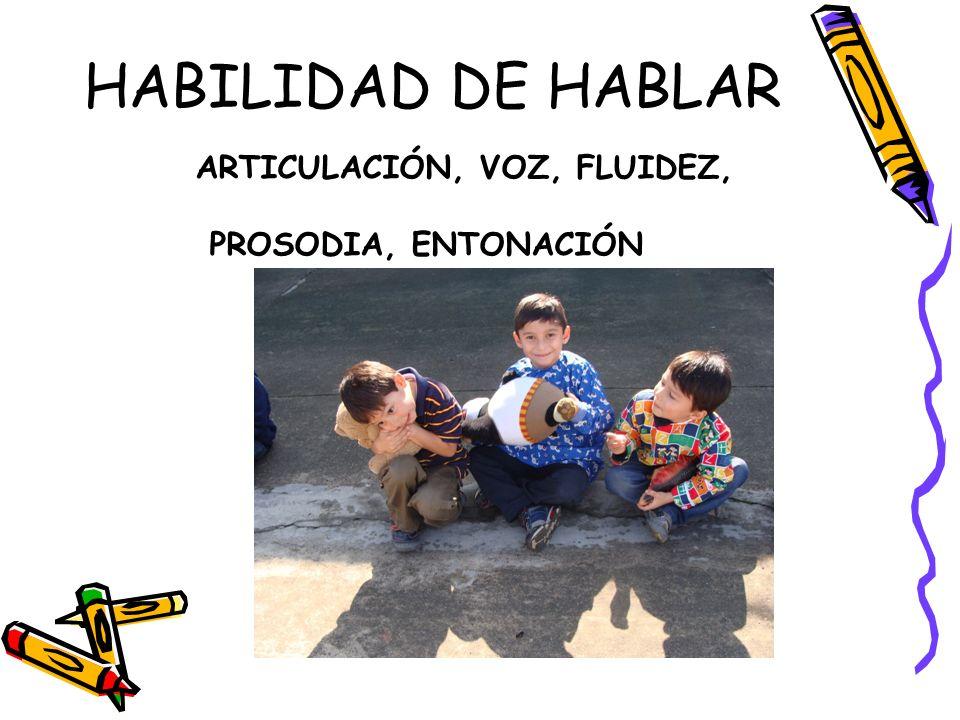 HABILIDAD DE HABLAR ARTICULACIÓN, VOZ, FLUIDEZ, PROSODIA, ENTONACIÓN