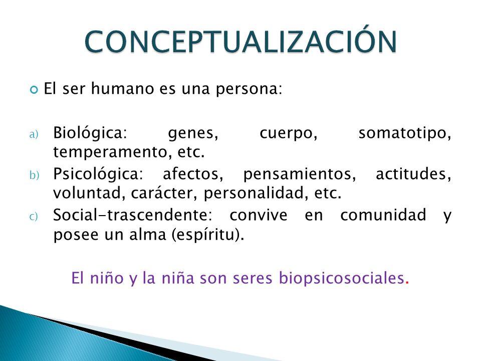 El ser humano es una persona: a) Biológica: genes, cuerpo, somatotipo, temperamento, etc. b) Psicológica: afectos, pensamientos, actitudes, voluntad,