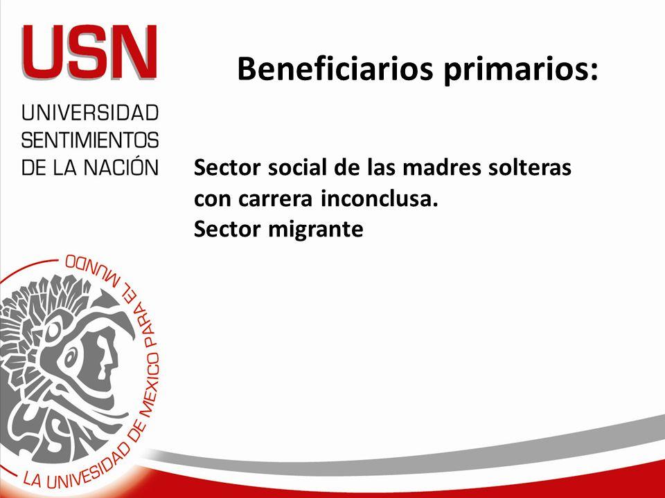 Beneficiarios primarios: Sector social de las madres solteras con carrera inconclusa. Sector migrante