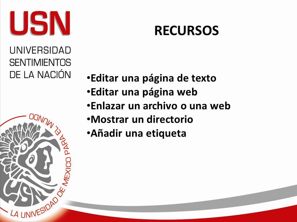 RECURSOS Editar una página de texto Editar una página web Enlazar un archivo o una web Mostrar un directorio Añadir una etiqueta