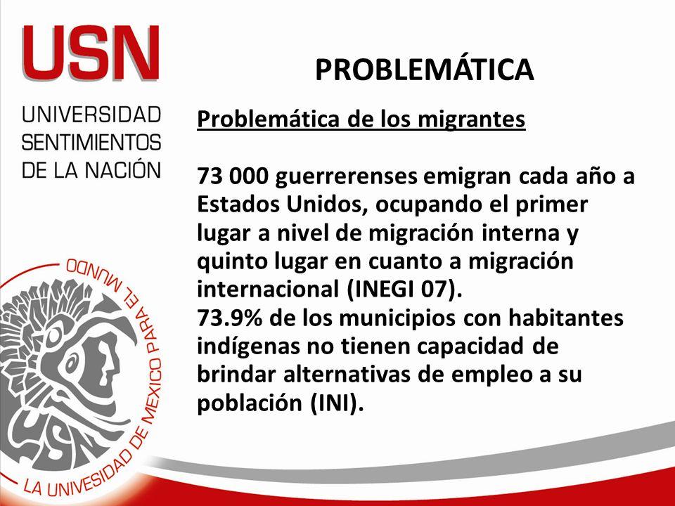 PROBLEMÁTICA Problemática de los migrantes 73 000 guerrerenses emigran cada año a Estados Unidos, ocupando el primer lugar a nivel de migración intern