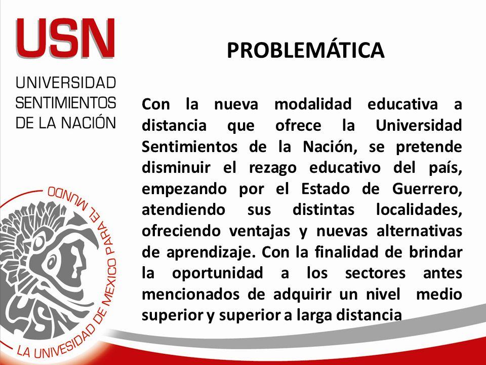 PROBLEMÁTICA Con la nueva modalidad educativa a distancia que ofrece la Universidad Sentimientos de la Nación, se pretende disminuir el rezago educati