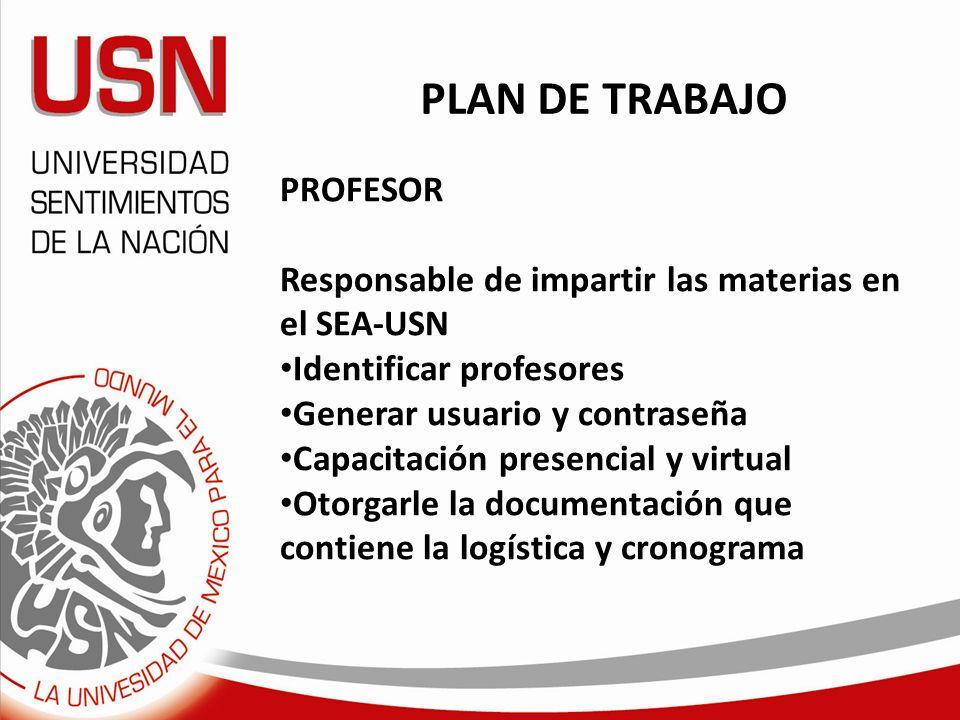 PROFESOR Responsable de impartir las materias en el SEA-USN Identificar profesores Generar usuario y contraseña Capacitación presencial y virtual Otor