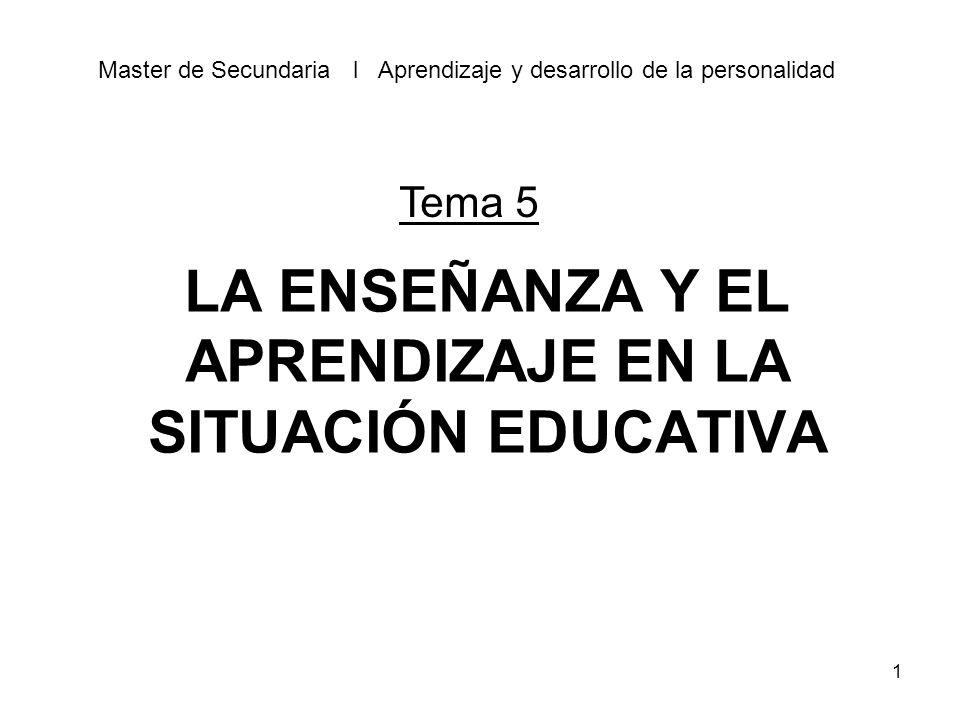 1 LA ENSEÑANZA Y EL APRENDIZAJE EN LA SITUACIÓN EDUCATIVA Master de Secundaria l Aprendizaje y desarrollo de la personalidad Tema 5