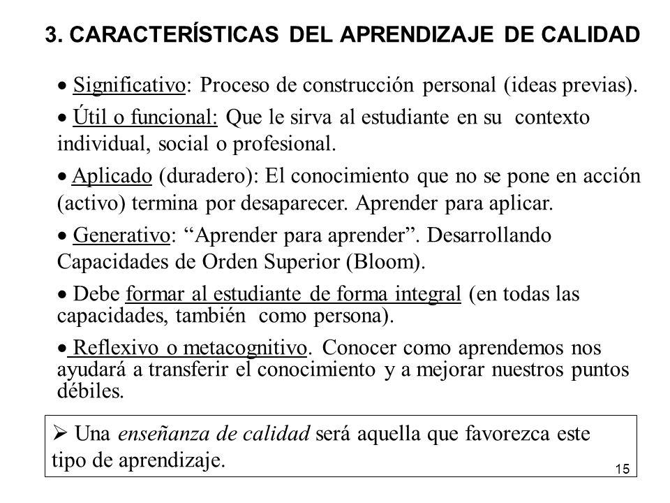15 3. CARACTERÍSTICAS DEL APRENDIZAJE DE CALIDAD Significativo: Proceso de construcción personal (ideas previas). Útil o funcional: Que le sirva al es