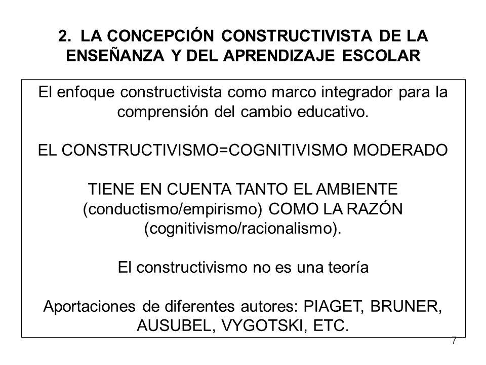 7 2. LA CONCEPCIÓN CONSTRUCTIVISTA DE LA ENSEÑANZA Y DEL APRENDIZAJE ESCOLAR El enfoque constructivista como marco integrador para la comprensión del