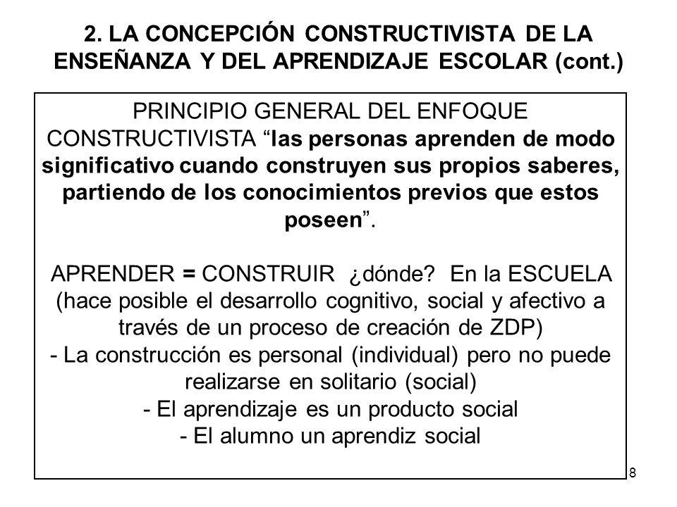 8 2. LA CONCEPCIÓN CONSTRUCTIVISTA DE LA ENSEÑANZA Y DEL APRENDIZAJE ESCOLAR (cont.) PRINCIPIO GENERAL DEL ENFOQUE CONSTRUCTIVISTA las personas aprend