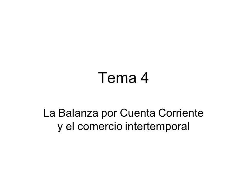 Tema 4 La Balanza por Cuenta Corriente y el comercio intertemporal