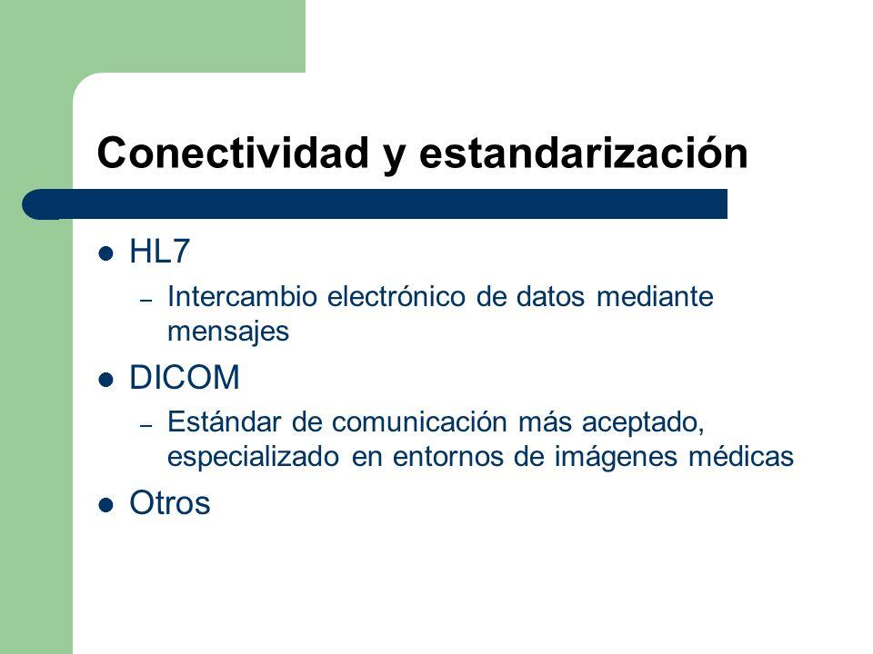 Conectividad y estandarización HL7 – Intercambio electrónico de datos mediante mensajes DICOM – Estándar de comunicación más aceptado, especializado en entornos de imágenes médicas Otros