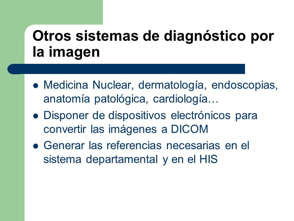 Otros sistemas de diagnóstico por la imagen Medicina Nuclear, dermatología, endoscopias, anatomía patológica, cardiología… Disponer de dispositivos el