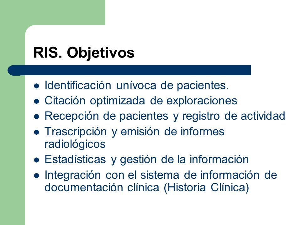 RIS. Objetivos Identificación unívoca de pacientes. Citación optimizada de exploraciones Recepción de pacientes y registro de actividad Trascripción y