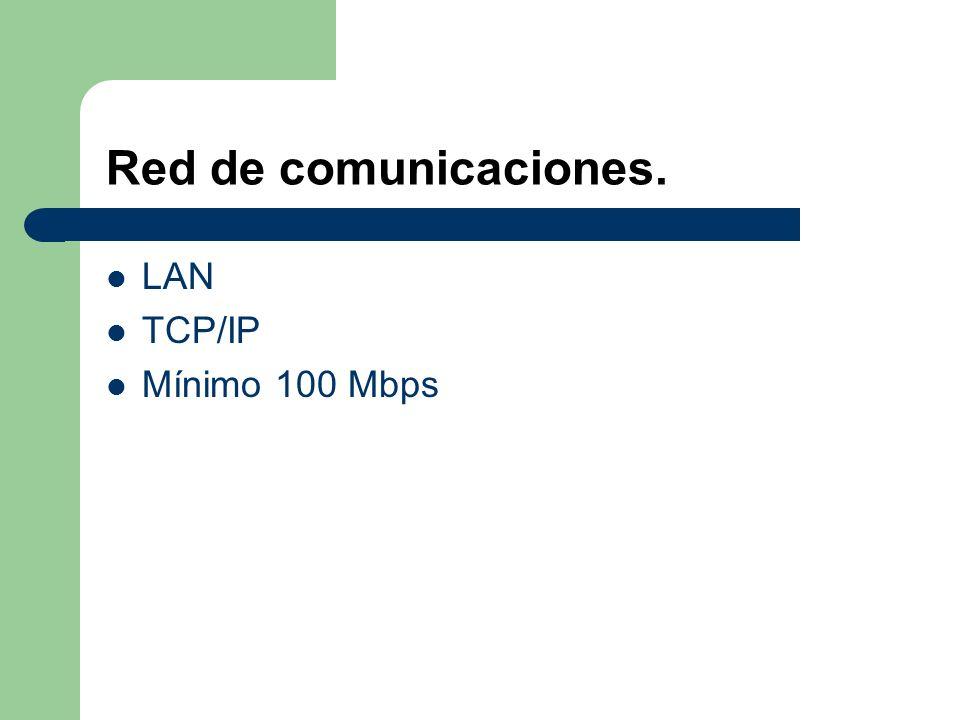 Red de comunicaciones. LAN TCP/IP Mínimo 100 Mbps