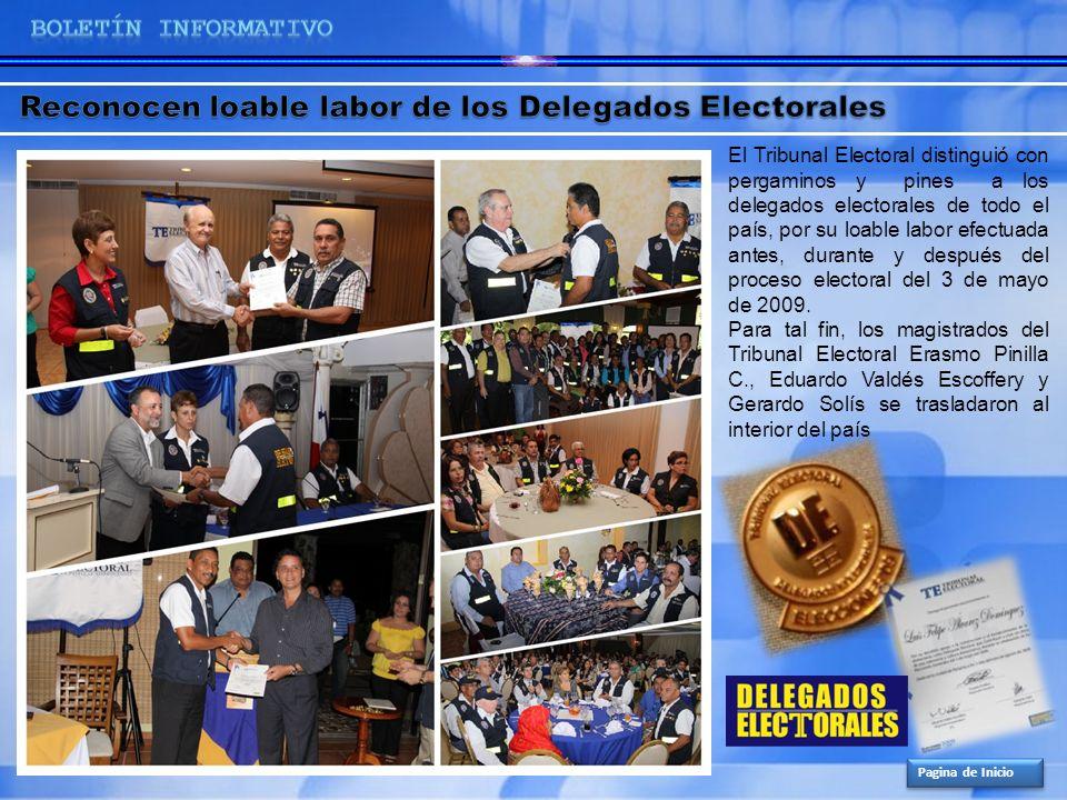 Pagina de Inicio El Tribunal Electoral distinguió con pergaminos y pines a los delegados electorales de todo el país, por su loable labor efectuada an