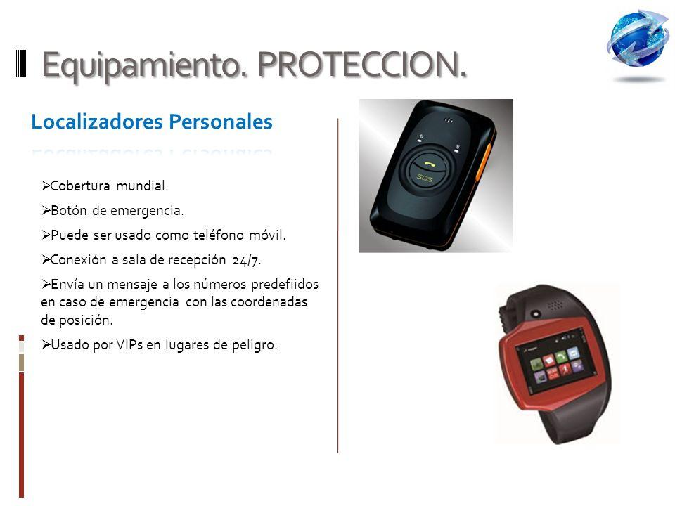 Equipamiento.PROTECCION. Cobertura mundial. Botón de emergencia.