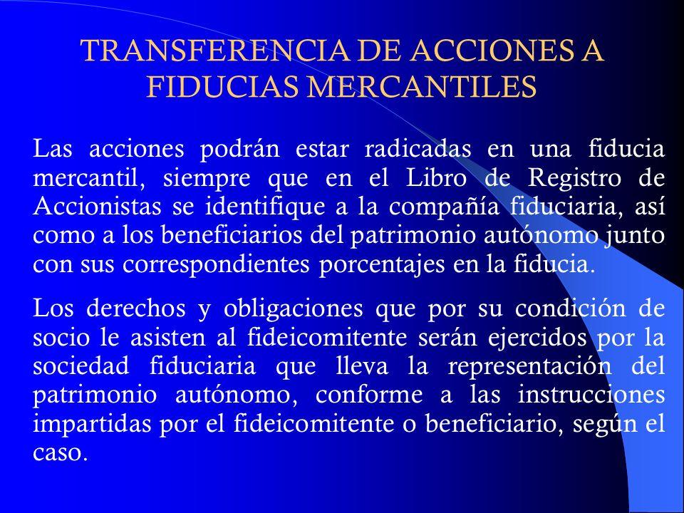 TRANSFERENCIA DE ACCIONES A FIDUCIAS MERCANTILES Las acciones podrán estar radicadas en una fiducia mercantil, siempre que en el Libro de Registro de