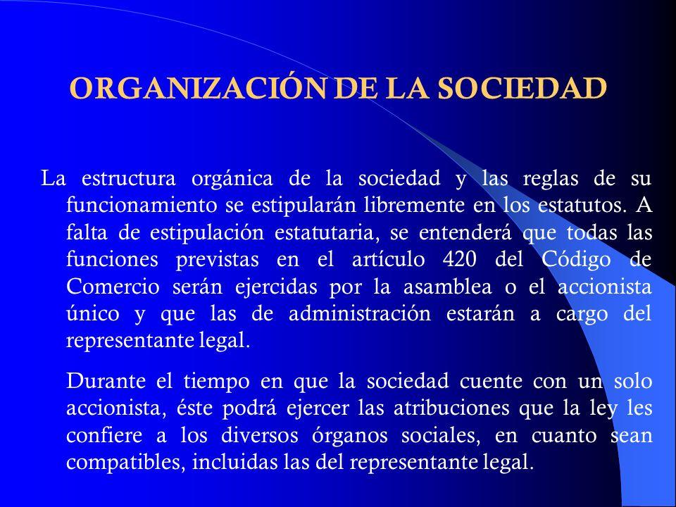 ORGANIZACIÓN DE LA SOCIEDAD La estructura orgánica de la sociedad y las reglas de su funcionamiento se estipularán libremente en los estatutos. A falt