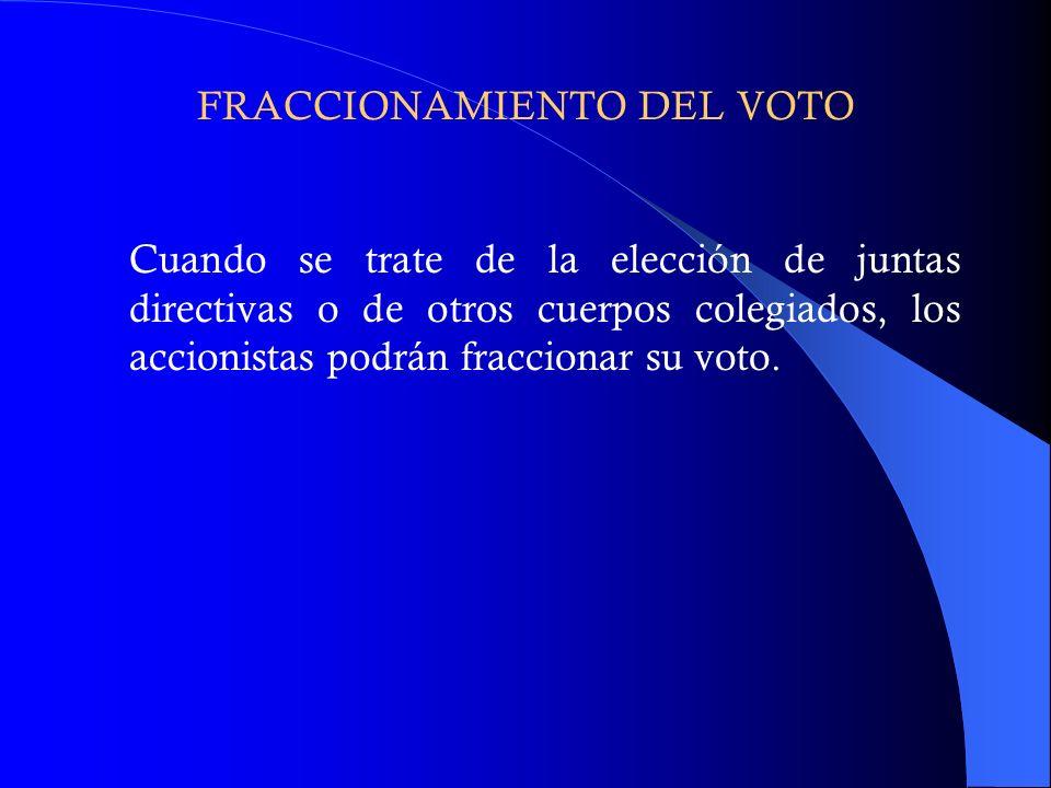 FRACCIONAMIENTO DEL VOTO Cuando se trate de la elección de juntas directivas o de otros cuerpos colegiados, los accionistas podrán fraccionar su voto.