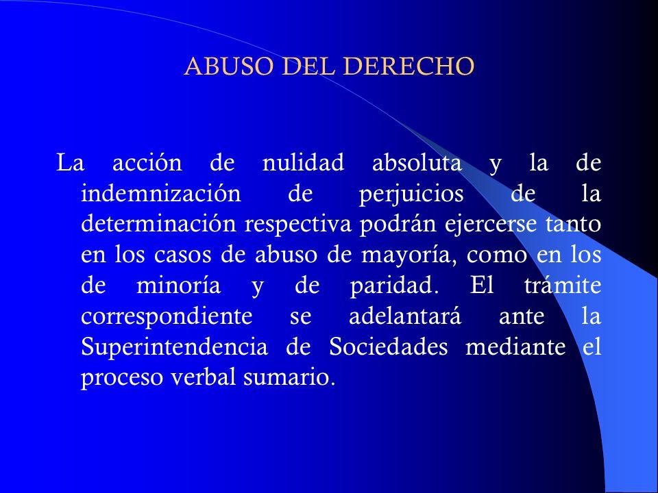 ABUSO DEL DERECHO La acción de nulidad absoluta y la de indemnización de perjuicios de la determinación respectiva podrán ejercerse tanto en los casos
