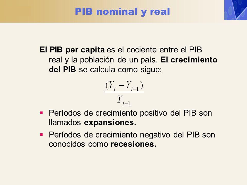 PIB nominal y real El PIB per capita es el cociente entre el PIB real y la población de un país. El crecimiento del PIB se calcula como sigue: Período