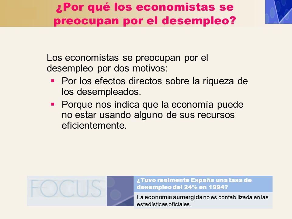 ¿Por qué los economistas se preocupan por el desempleo? Los economistas se preocupan por el desempleo por dos motivos: Por los efectos directos sobre
